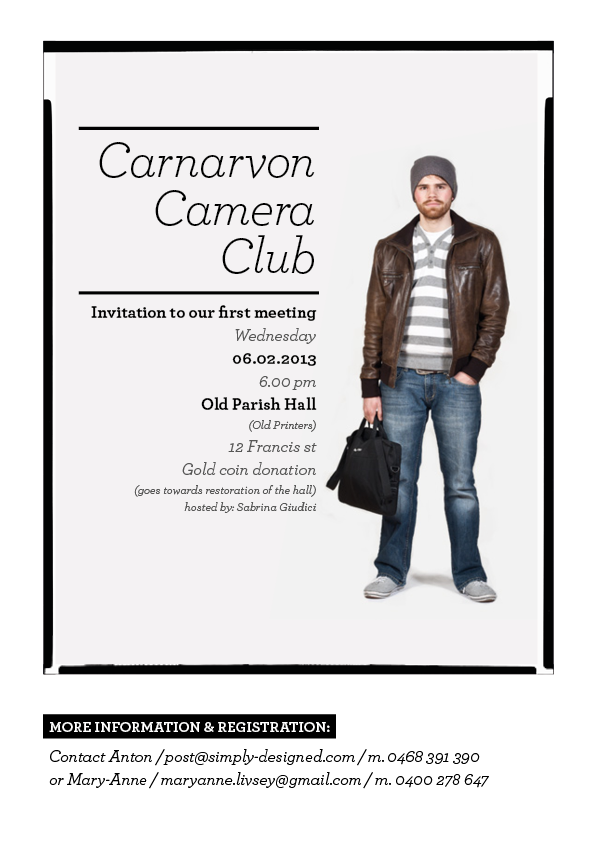 Invitation to the new Carnarvon Camera Club